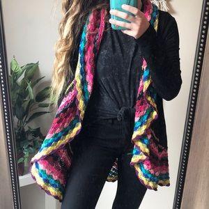 Double Zero Rainbow Crochet Wrap Cardigan